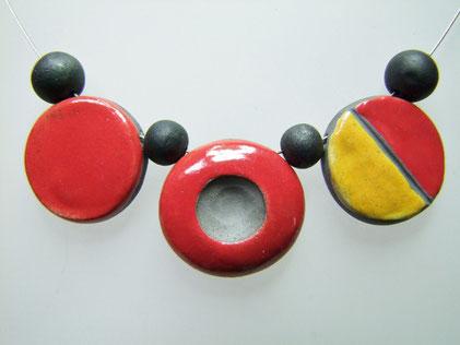 collier bicolore ceramique raku