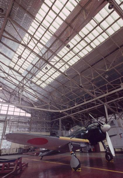 A restored Mitsubishi A6M5 Zero fighter, Tokyo, Japan.