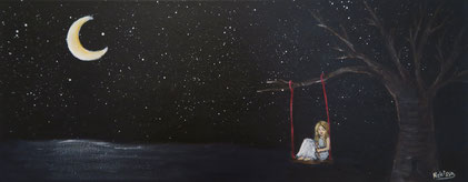 surreal nihonga painting japanese technique blond girl is sitting on a swing which hangs one a tree above the water at night the moon and the stars are shining