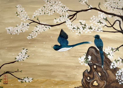 birds and flowers japanese asian painting nihonga