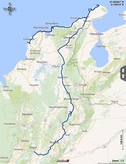 unsere bisherige Route in Kolumbien
