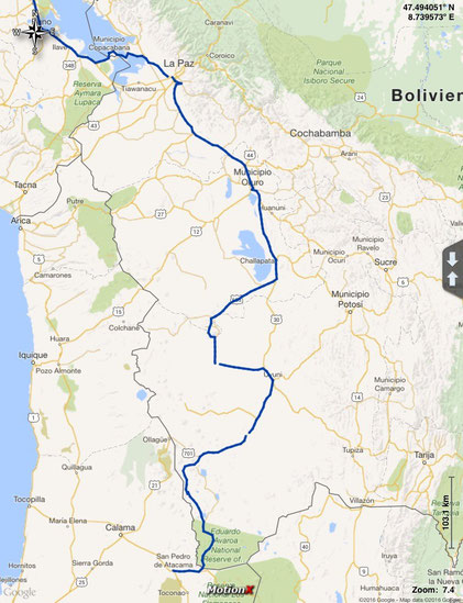 Unsere Route durch Bolivien
