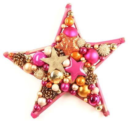 50 cm Stern in gold - orange und pink
