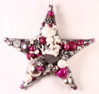 Großer Stern in pink, grau und weiß mit Porzellan Engel