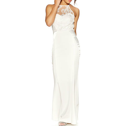 Quiz White Embellished Crepe High Neck Maxi Dress