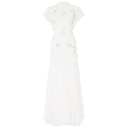 Raishma Embellished Frill Gown, White