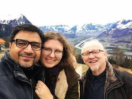 Sudhir Sharma, Marianna Sharma, Vlado Franjević in Liechtenstein, 2018.