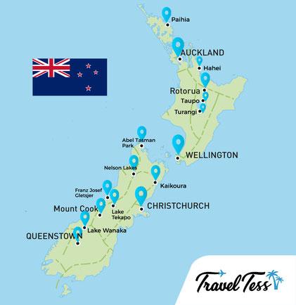 Kaart van Nieuw-Zeeland highlights
