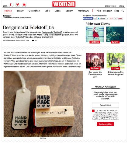 """WOMAN ONLINE 04/2014, Stempel """"Handmade"""""""