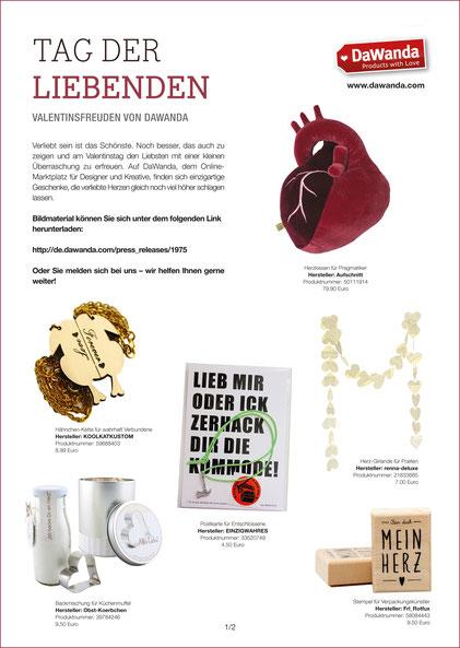 """DAWANDA LOVELETTER VALENTINSTAG 2015 Stempel """"Für dich mein Herz"""""""