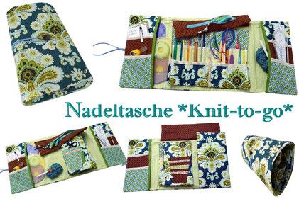 Nadeltasche, Stricktasche, Knit-to-go, Handarbeitstasche, Knooking-Bag, Häkteltasche