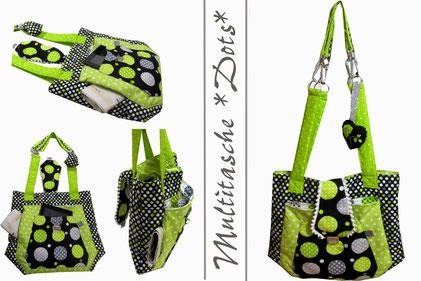 Multitasche, Farbenmix, Bogentasche, Shopper, Retro, Dots, Metallverschluss, Gepunktet