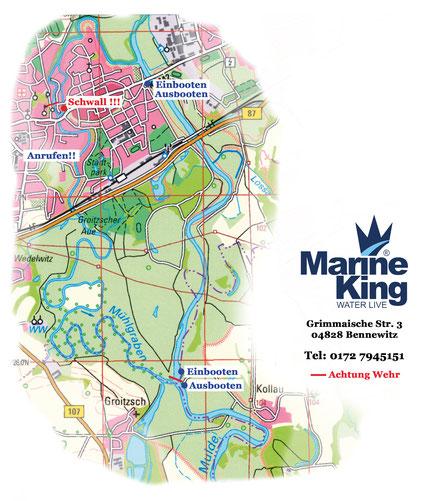 Marineking - Bootsverleih, Bootsvermietung Eilenburg Mühlgraben