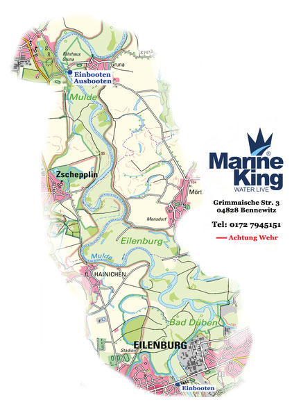 Marineking - Bootsverleih, Bootsvermietung Eilenburg nach Gruna