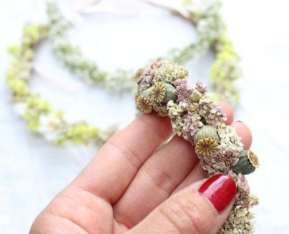 haarkranz oktoberfest,haarkranz trockenblumen,diy haarkranz,diy workshop kranz