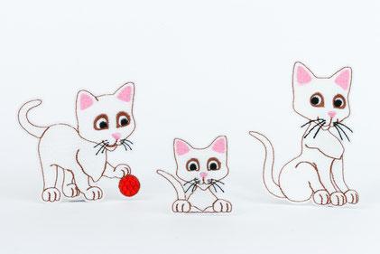Katze Minka - 3 Stickmotive für Rahmen ab 10x10 cm