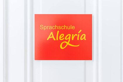 Türschild Sprachschule Alegría