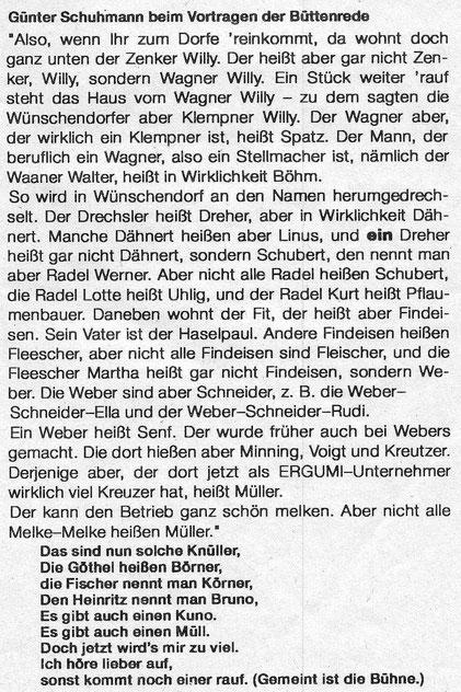 Bild: Teichler Wünschendorf Erzgebirge Büttenrede WCV Schuhmann 1970