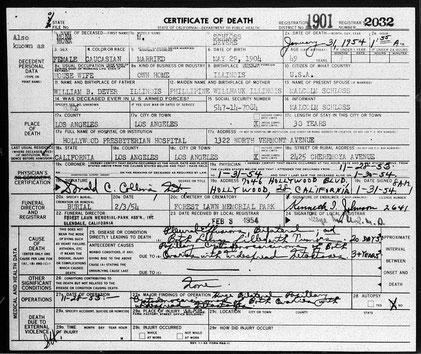 Mona's death certificate. Courtesy of Valerie McKean.