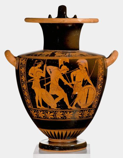 Amazonen beim Anlegen ihrer Waffen. Halsamphore, 520 v.Chr.