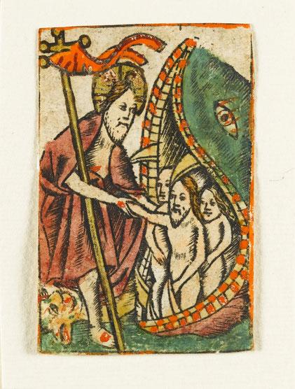 Christus in der Vorhölle. Der Eingang zur Hölle ist der Rachen eines Wals. Aus dem Gebetbuch der Anna Wartys.