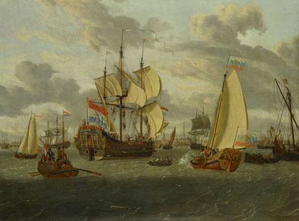 Abraham Storck, Zar Peter der Große an Bord seiner Jacht auf dem Weg zur Fregate Pieter en Paul