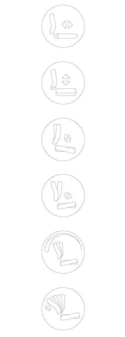 Dauphin Human Design Company, Produktgrafik, Piktogramme, Bedienlemente