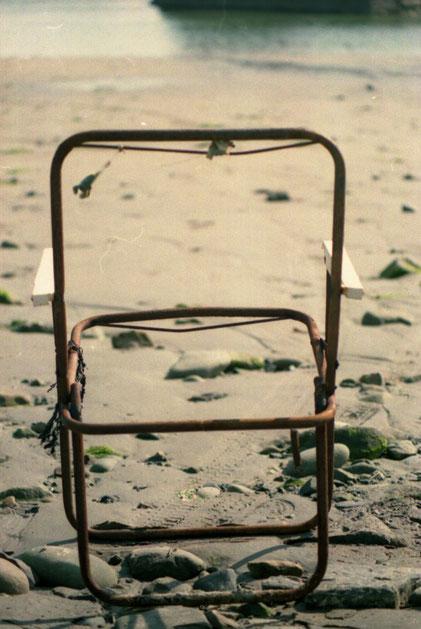 Campingstuhldurchsicht, Strand, Wasser