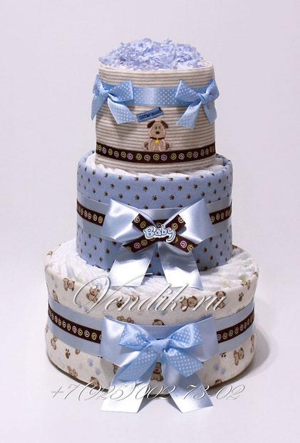 """Торт из памперсов с фланелевыми пелёнками подарок для новорожденного мальчика """" Весёлые собачки"""""""
