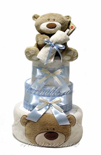 """Торт из памперсов и детских вещей для мальчика """"Медвежонок"""""""