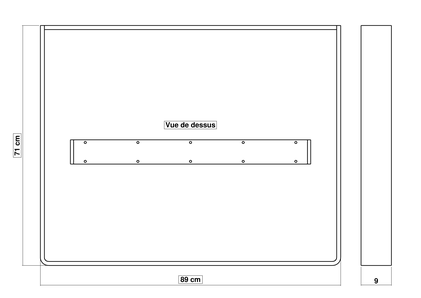Dimensions du pied de table CosYa H 71 x 89 x 9 cm