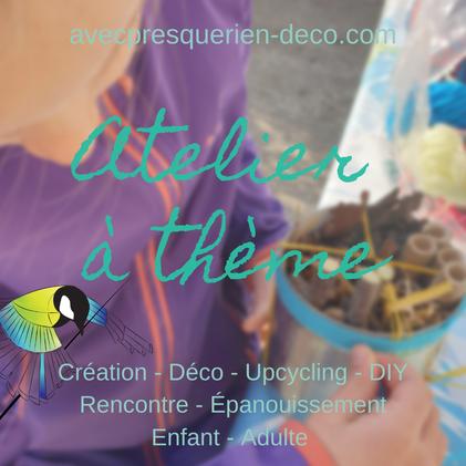 """atelier adulte, atelier enfant, activité bricolage, déco, DIY, recyclage, upcycling, convivial, , cadeau enfant, """"avec presque rien"""""""