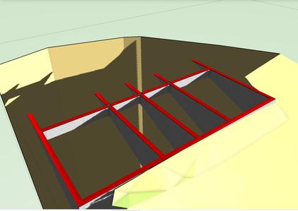 Horizontalschnitt, 3D Modell - Gelände, Gründung