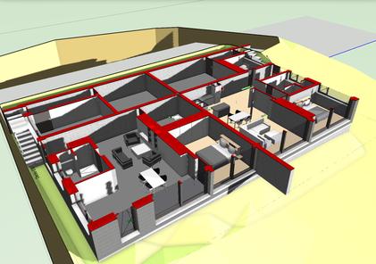 Horizontalschnitt, 3D Modell - Ebene 0