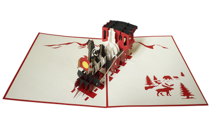 Carte Pop-Up Train vapeur