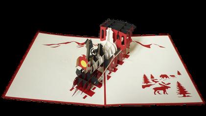 Carte Pop-Up Train vapeur