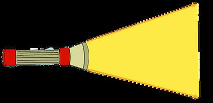Der Weg des Lichts von einer Taschenlampe