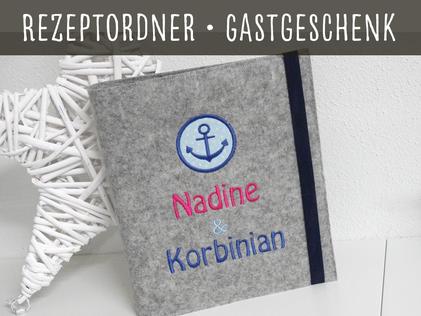 Rezeptbuch Ordner Filz Geschenk Hochzeit Jubiläum Koch Muttertag