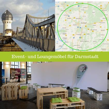 Eventmöbel mieten / Palettenmöbel Verleih & Vermietung in Darmstadt (Rhein-Main-Gebiet) und Umgebung