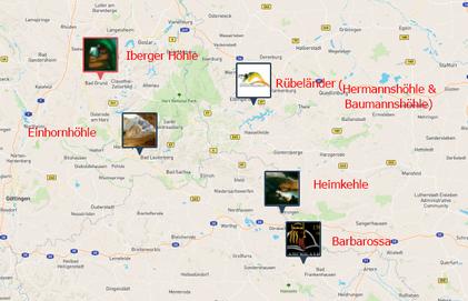 Interaktive Karte Höhlen Deutschland ( u.a. Harz)- Klick an!