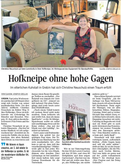 Große Presse für DIE HOFKNEIPE: Nach dem Hörfunkbeitrag auf NDR 1 Welle Nord im April waren am 10. Juni die Kieler Nachrichten zu Gast in Grebin. Entstanden ist dabei eine tolle Reportage.