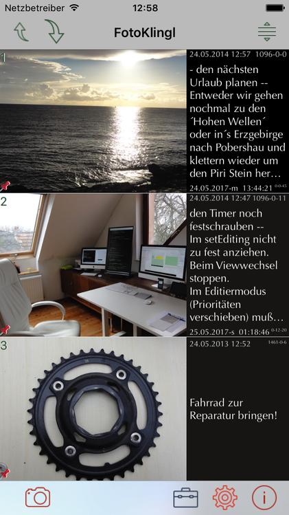 iPhone App FotoKlingl Startbildschirm