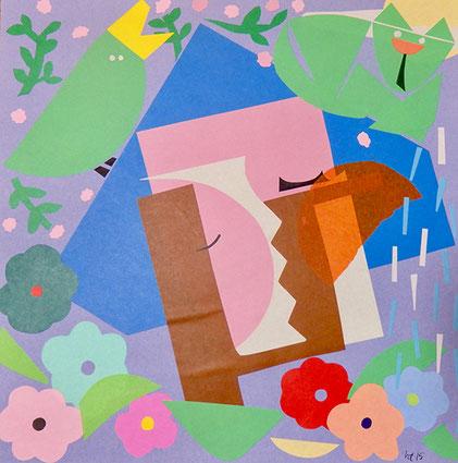 夢想 350mm x 350mm origami paper-cut 2015 Ⓒ Hanae Tanazawa