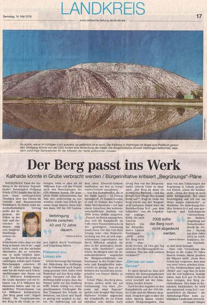Quelle: Cellesche Zeitung, 14.05.2016