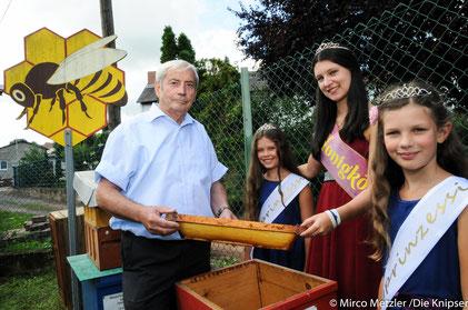 (v.l) Herr Kiefel Inhaber des Bienengartens, Die Honigprinzessin Julia Kracke, Die Honigkönigin Sarah Balzer und Die Honigprinzessin Mira Balzer.