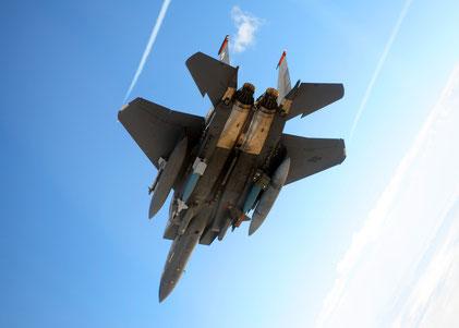 F-15E Strike Eagle del 391 Fighter Squadron caricato con una GBU-12 e una GBU-28 / © USAF