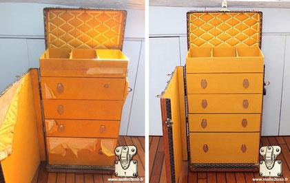 malle wardrobe goyard restauration toile intérieur