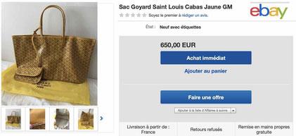 annonce ebay faux sac goyard saint louis contrefacon