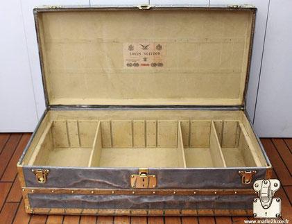 intérieur malle explorateur Louis Vuitton toile forte secret
