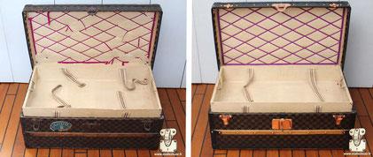 Malle cabine Louis Vuitton de 1890 Les rubans ont étés remplacé.